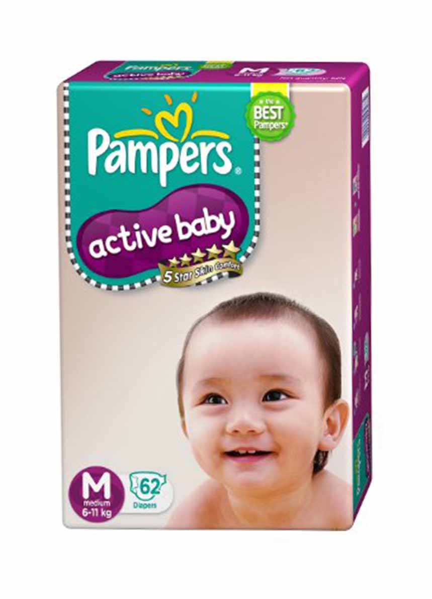 Pampers Active Baby Dry Pants-M-62 Diapers