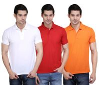 ILBIES Cotton Blend Multicolor Polo T-Shirt - Pack of 3