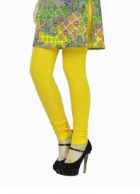 Threads of india Cotton Stretch Churidar Leggings-Lime Yellow